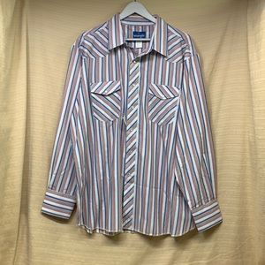NWT Wrangler Western Shirts Pearl Snap Down Multicolored Striped Long Sleeve XXL